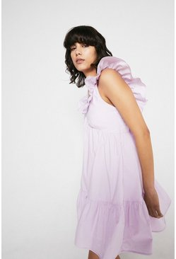 Lilac Mini Dress In Cotton With Frill