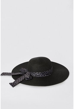 Black Scarf Detail Straw Hat
