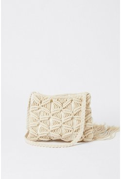 Cream Tassel Detail Crochet Bag