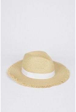 Cream Trim Detail Straw Hat