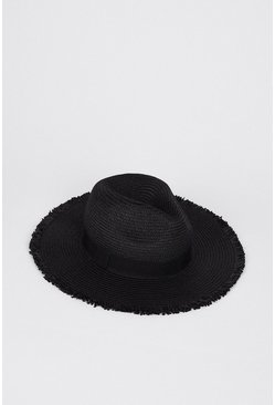 Black Edge Detail Straw Hat