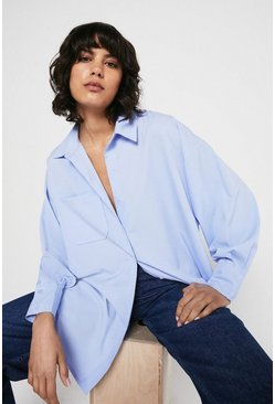 Blue Shirt With Batwing Sleeve