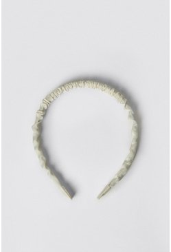 Cream Satin Ruched Skinny Headband