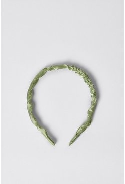 Sage Satin Ruched Skinny Headband
