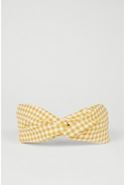 Yellow Gingham Headband