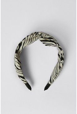 Blackwhite Zebra Printed Twist Detail Headband