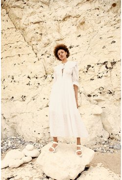 White Maxi Dress In Broderie