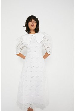 White Midi Dress In Broderie With Collar