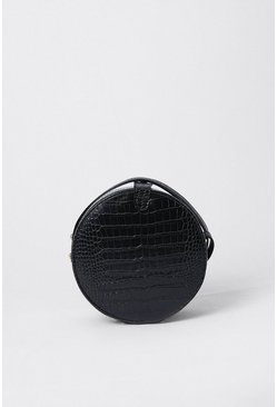 Black Croc Detail Circle Bag