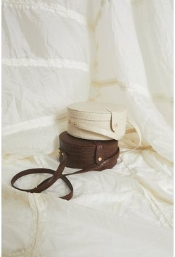 Cream Croc Detail Circle Bag