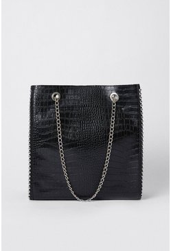 Black Croc Chain Detail Tote