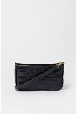 Black Croc Detail Shoulder Bag