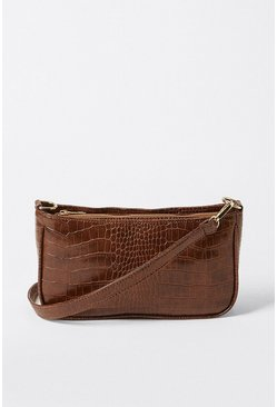 Chocolate Croc Detail Shoulder Bag