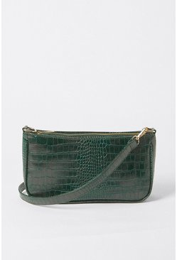 Dark green Croc Detail Shoulder Bag