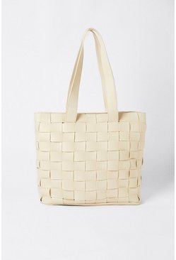 Cream Weave Detail Tote