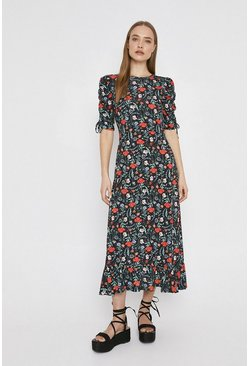 Black Printed Ruched Sleeve Midi Dress