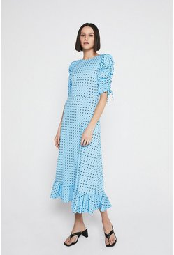 Light blue Printed Ruched Sleeve Midi Dress