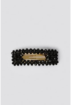 Black Beaded Hair Clip