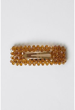 Brown Beaded Hair Clip