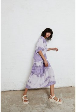 Lilac Smock Dress In Tie Dye