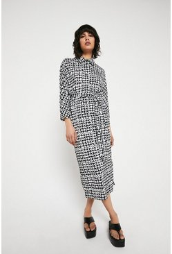 Mono Printed Belted Shirt Dress