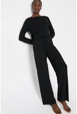 Black Loungewear Wide Leg Pant