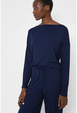 Navy Batwing Lounge Top