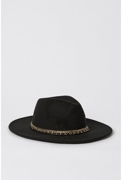 Black Chain Detail Fedora
