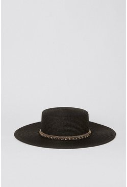 Black Chain Detail Flat Top Straw Hat