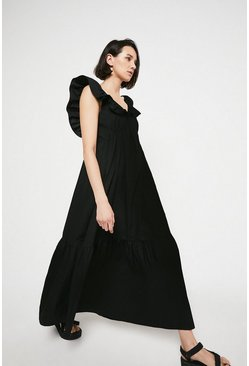 Black Maxi Dress In Cotton With Frill