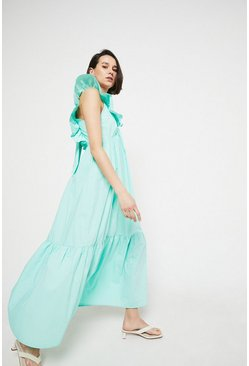 Mint Maxi Dress In Cotton With Frill