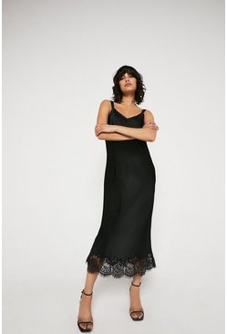 Black Cami Dress With Contrast Stitch & Lace