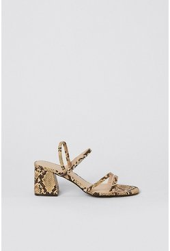 Natural Snake Block Heel Sandal
