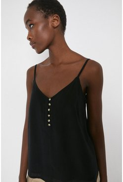 Black Button Through Cami