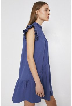 Blue Mini Swing Dress With Shirring