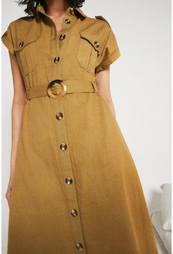 Khaki Utility Dress With Belt