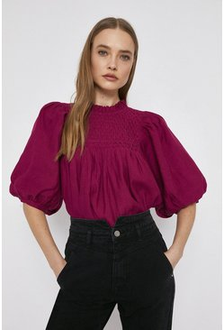 Dark pink Puff Sleeve Top With Shirring