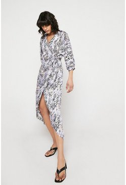 Blue Wrap Dress With Batwing Sleeve In Animal