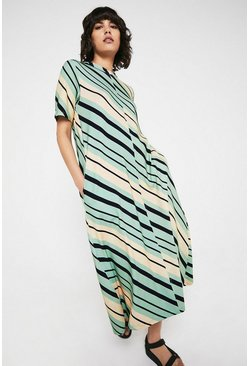 Multi Printed Stripe Trapeze Midi Dress