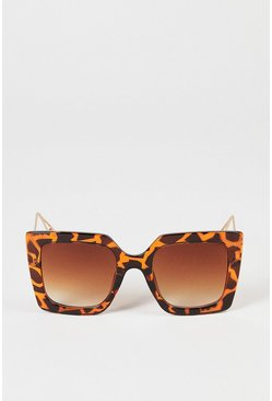 Brown Tortoiseshell Square Frame Sunglasses