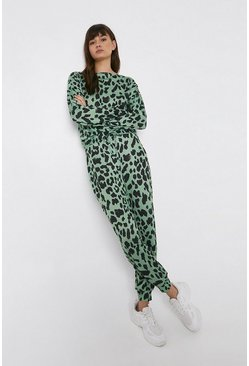 Green Animal Cuffed Hem Jogger