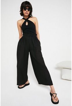 Black Paperbag Waist Wide Leg Trouser
