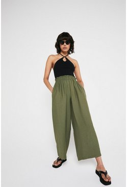 Light khaki Paperbag Waist Wide Leg Trouser