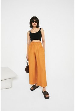 Tan Paperbag Waist Wide Leg Trouser