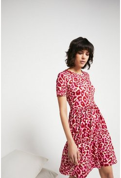 Pink Printed Crew Neck Short Sleeve Tiered Dress