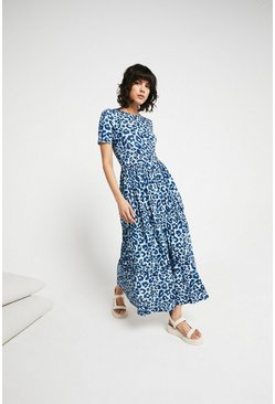Blue Printed Crew Neck Short Sleeve Midi Dress