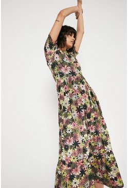 Multi Printed Crew Neck Short Sleeve Midi Dress