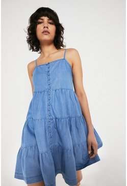 Light wash Chambray Tiered Button Front Mini Dress