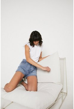 White Dobby Frill Shoulder Shell Top