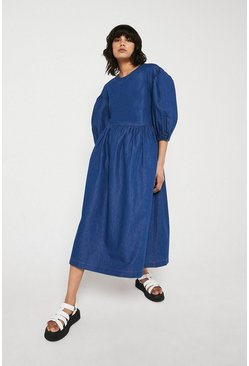 Mid wash Chambray Oversized Volume Sleeve Dress